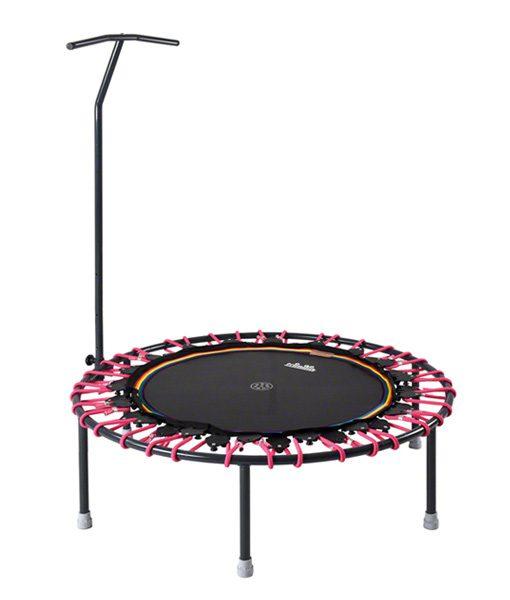 Minitrampolin Trimilin-jump mit Vario-Gummiseilen in pink und T-Haltestange